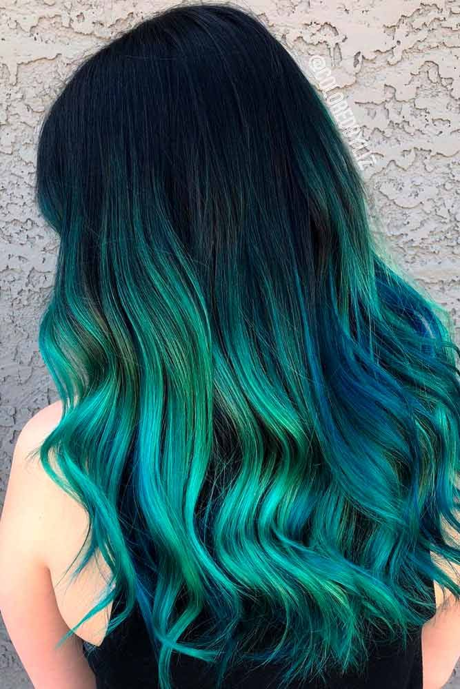 Black And Green Ombre #ombrehair #colorfuhair ★ Looking for the latest green hair ideas? In our guide, we've put together the best options to match any taste, from light pastel mint balayage on a short bob to dark and bright emerald ombre on long locks. #glaminati #lifestyle #greenhair