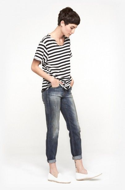 R13 Relaxed Skinny in Basquiat Blue | The Dreslyn #denim #stripes #tshirt #fashion