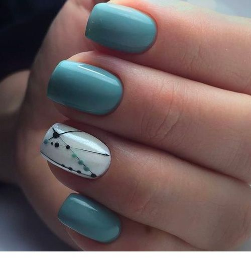 Cute blue nails with some polka dots and lines