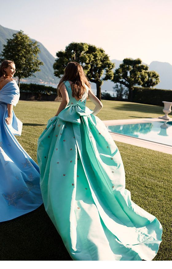 Long dresses, mint vs blue