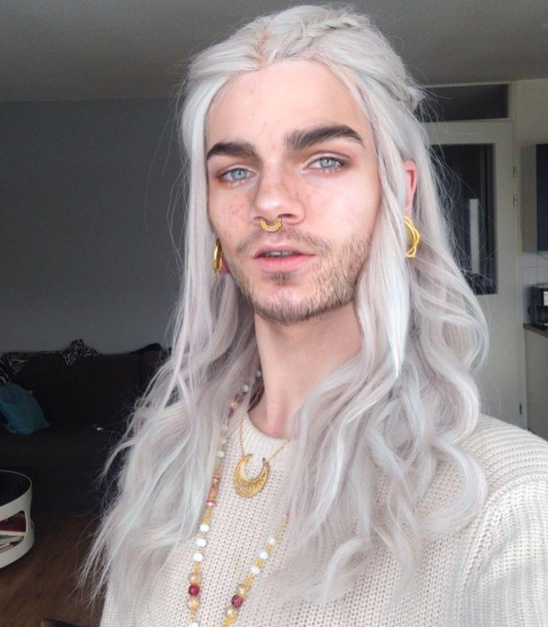 Long white hair, Long hair styles men, White hair men