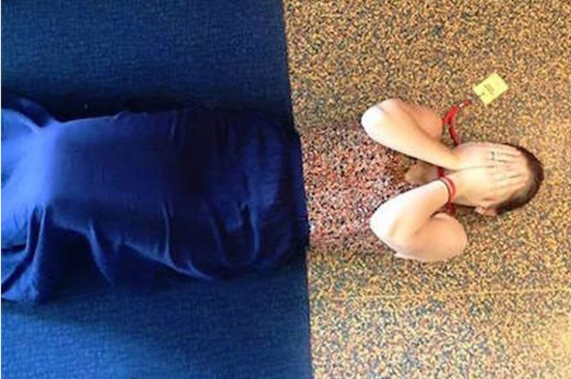 """No one wakes up and throws on a shirt thinking """"today is the day I match with the floor."""" #funny #matching #shirts #clothes #lol"""