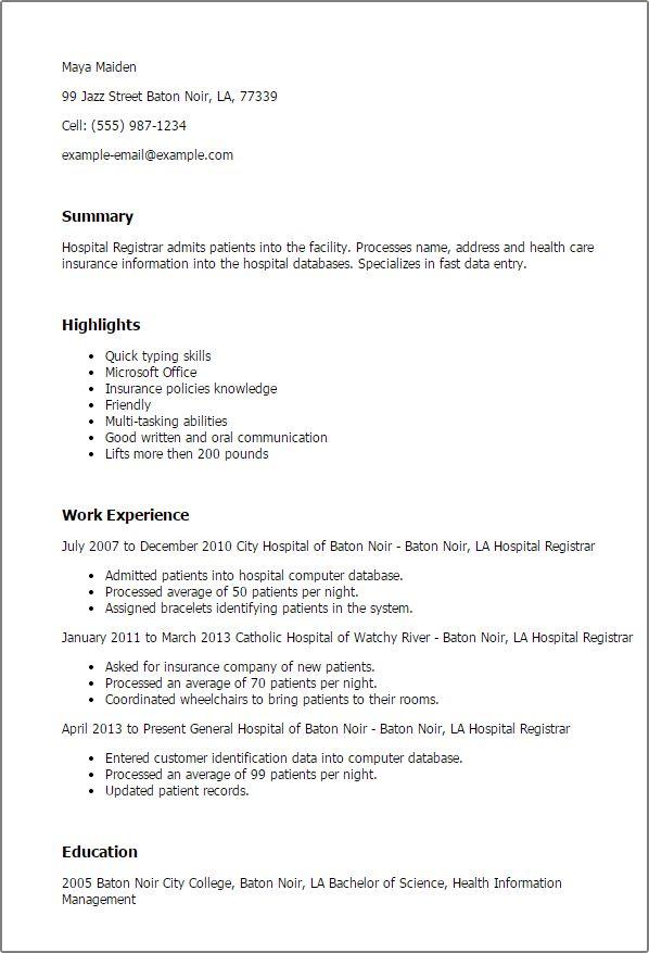 patient registration clerk resume radiovkm