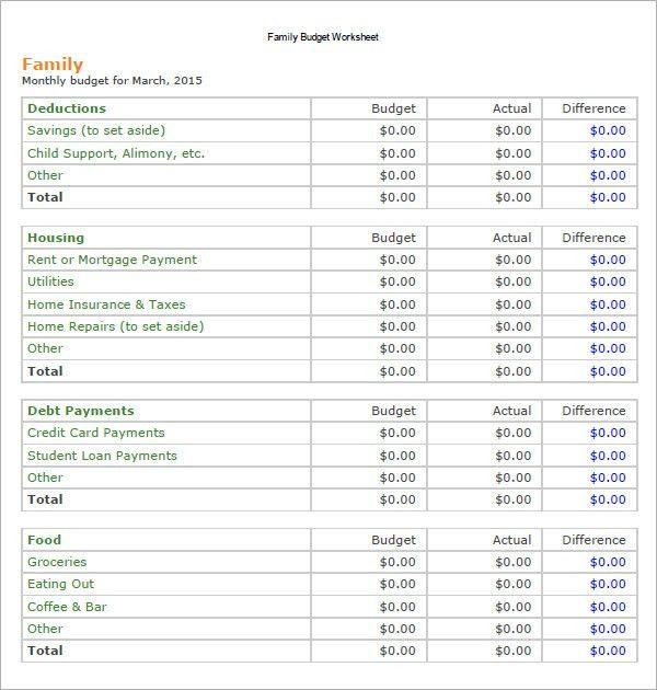 Family Budget Template Household Budget Worksheet For Excel - sample budget planner