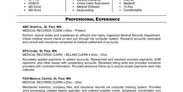 medical records clerk resume
