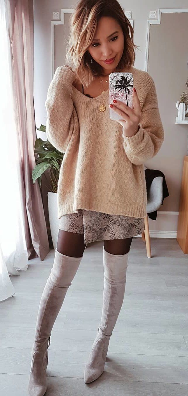beige sweater #spring #outfits