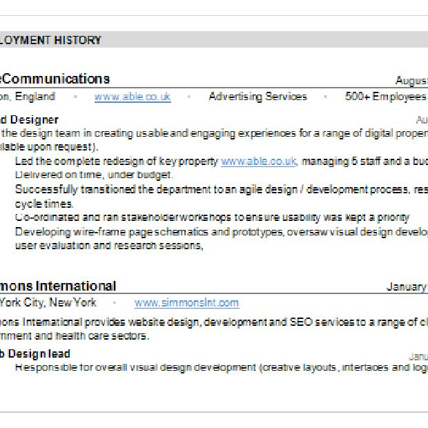 Resume Employment History Examples Resume Writing Employment  Resume Employment History