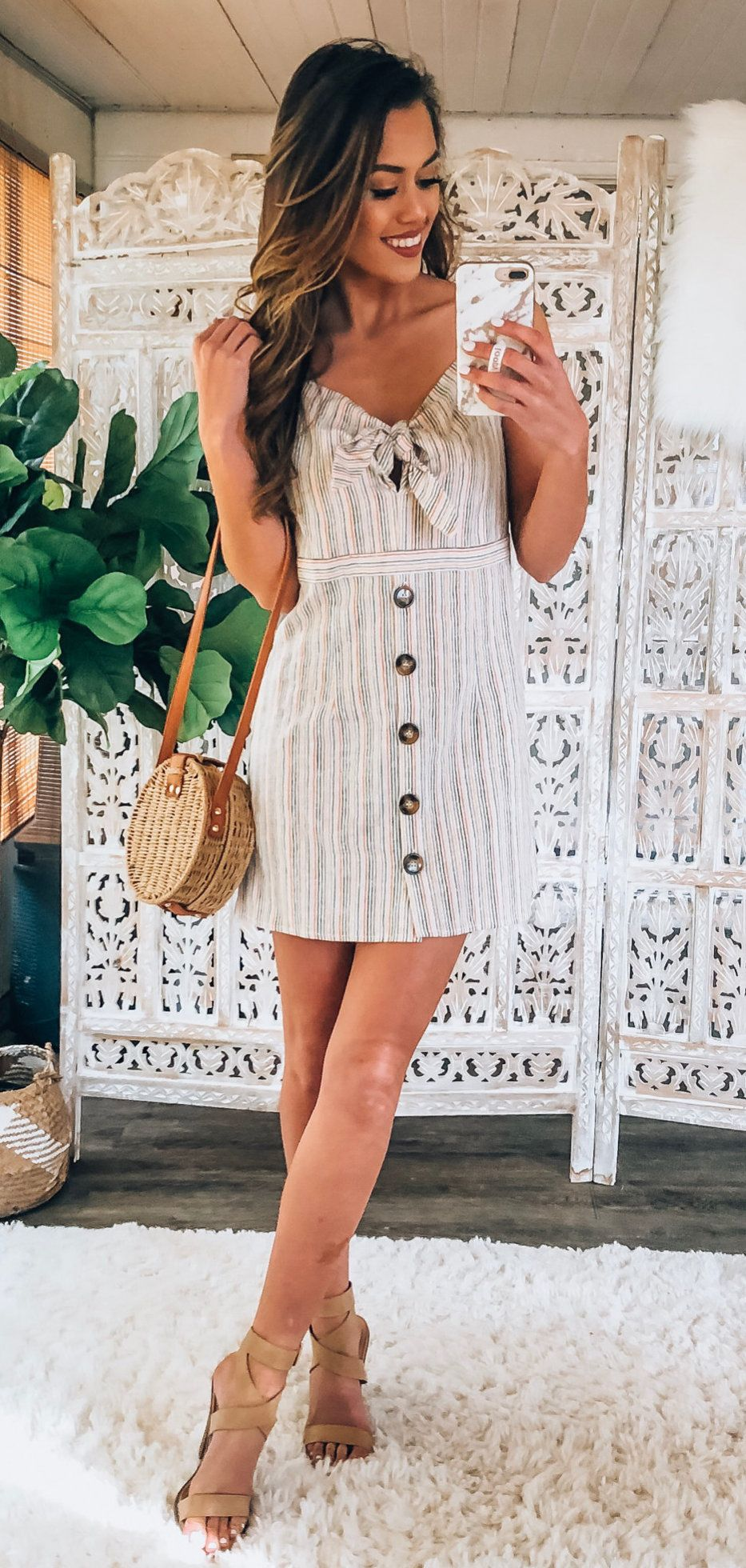 white and black sleeveless dress #spring #outfits