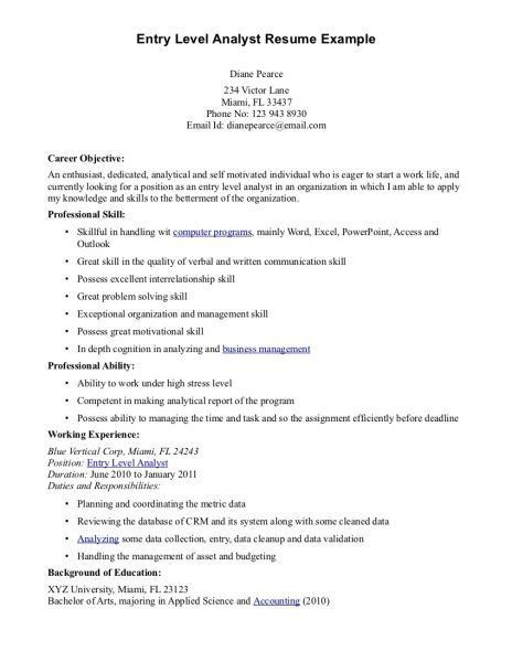 Entry Level Business Analyst Resume Sample] Sumptuous