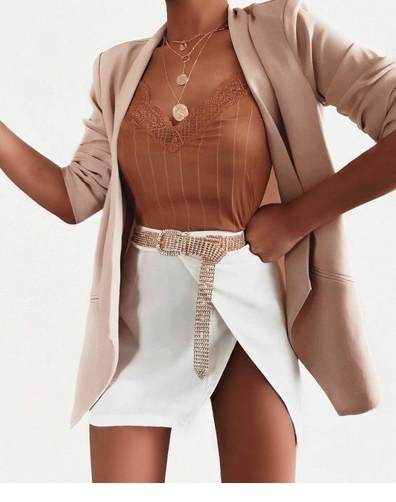 Cute top, white skirt and a blazer