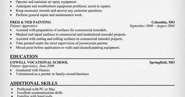 painters resume sample matchboardco - Sample Resume For Painter