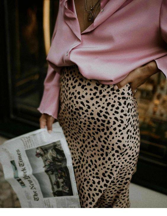 Nice pink shirt and leo skirt