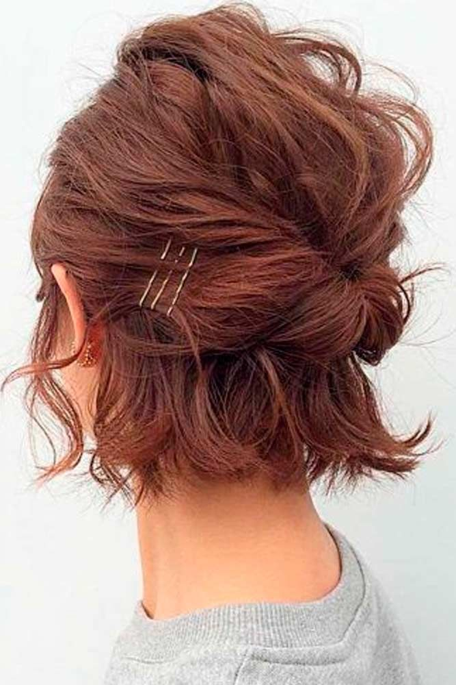 Twisted Half-Up #twistedhair #halfuphair ★ Short hairstyles for women have caused a lot of stir in 2019. Want to know what they are? You can find all of them in our exclusive photo gallery, which includes a layered bob, a messy pixie cut, cute Dutch braids and many more.  #glaminati #lifestyle #shorthairstyles