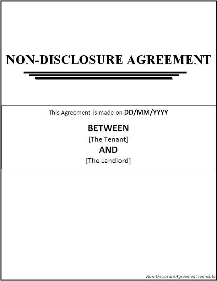 Confidentiality Agreement Template Confidentiality Agreement - non disclosure agreement form
