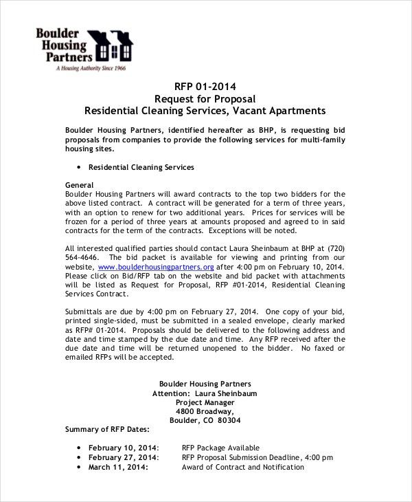 Bid Proposal Letter Bid Proposal Template Invitation To Bid - cleaning proposal letter