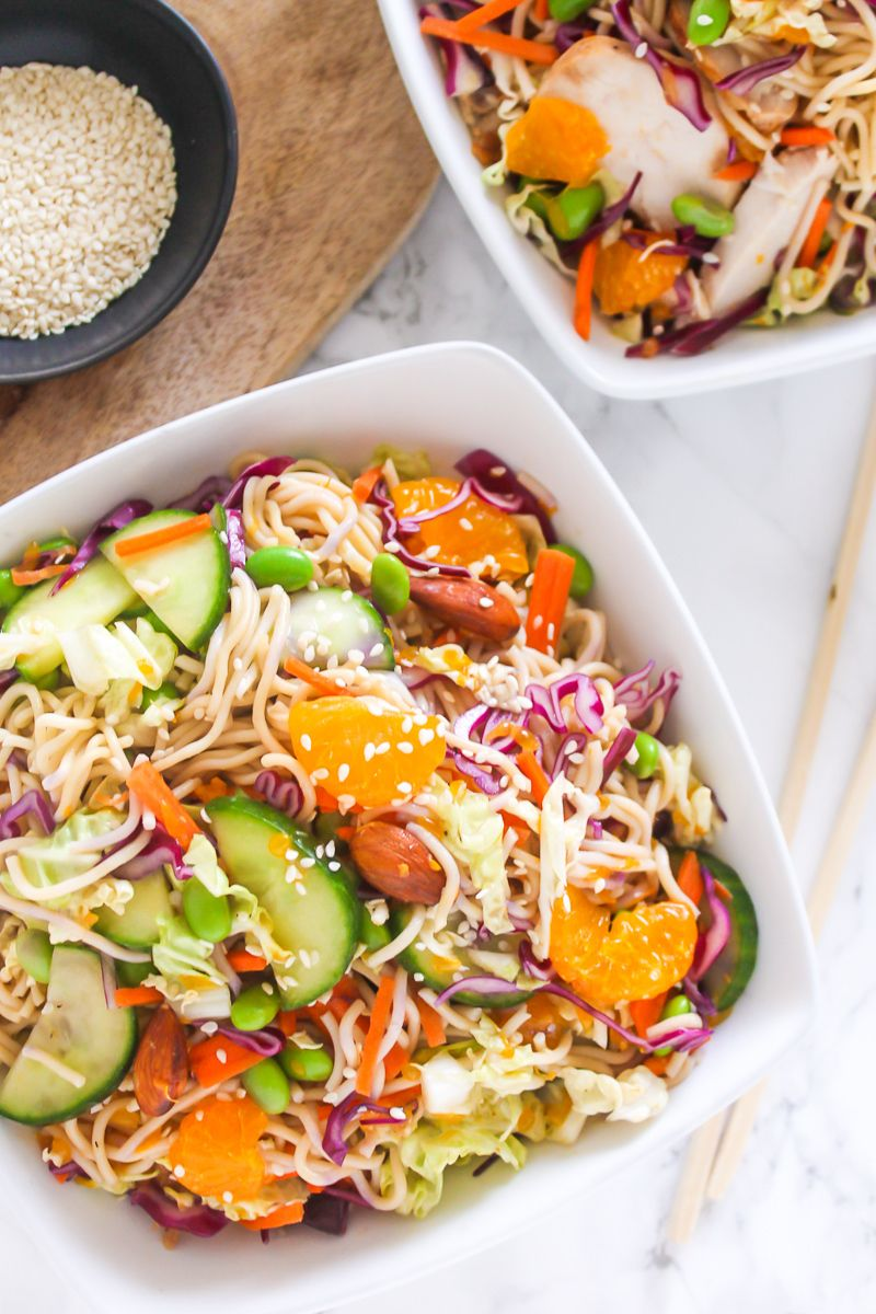 Mandarin Almond Chicken Noodle Salad  - My Fresh Perspective