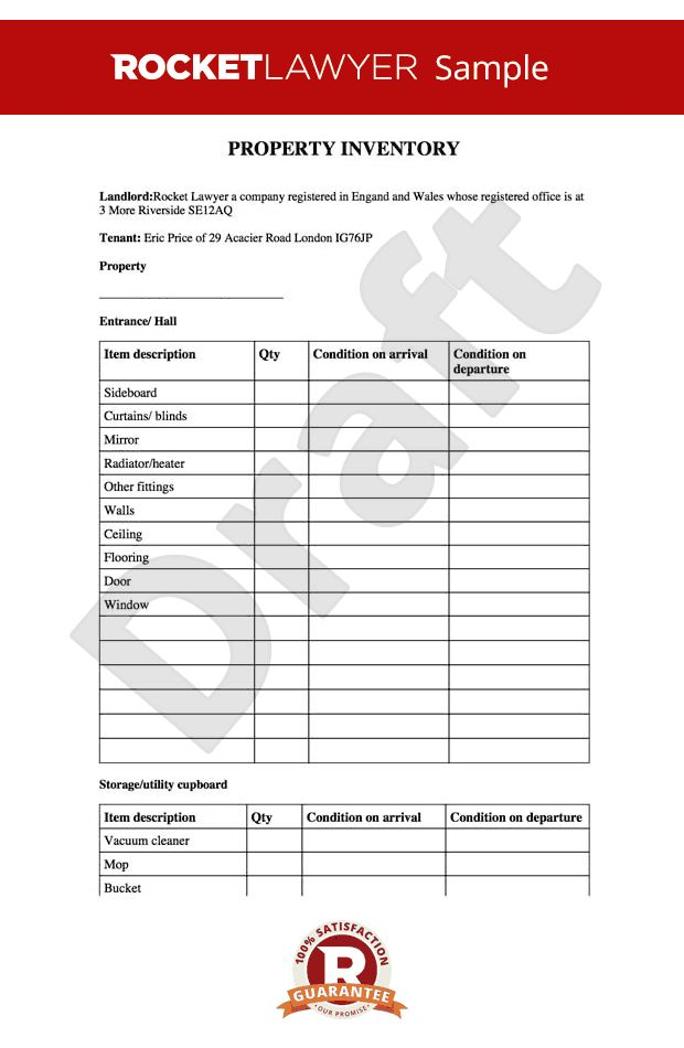 Tenancy Inventory Template Landlord Inventory Template 6 Free - property inventory template