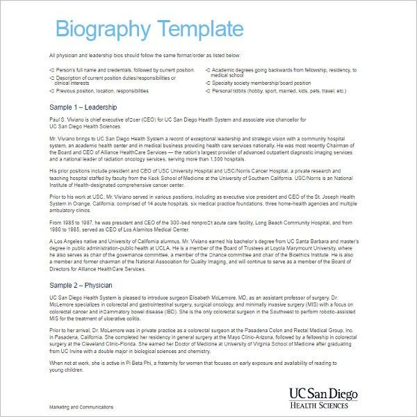 Microsoft Word Biography Template Download Personal Bio Templates - microsoft word biography template