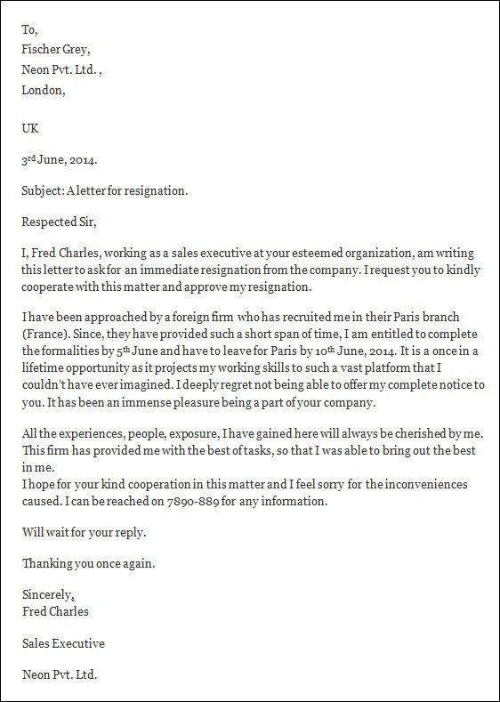 Resignation Letter In Word Resignation Letter Example 10 Free - immediate resignation letter