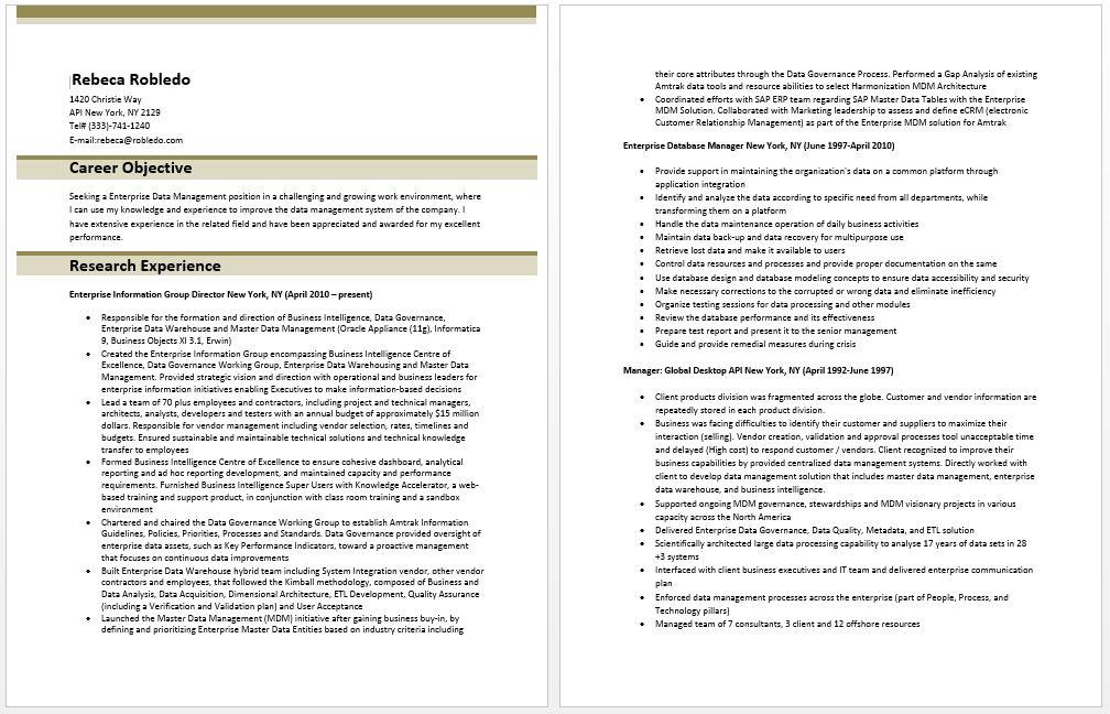 master data management resume sample data management resume