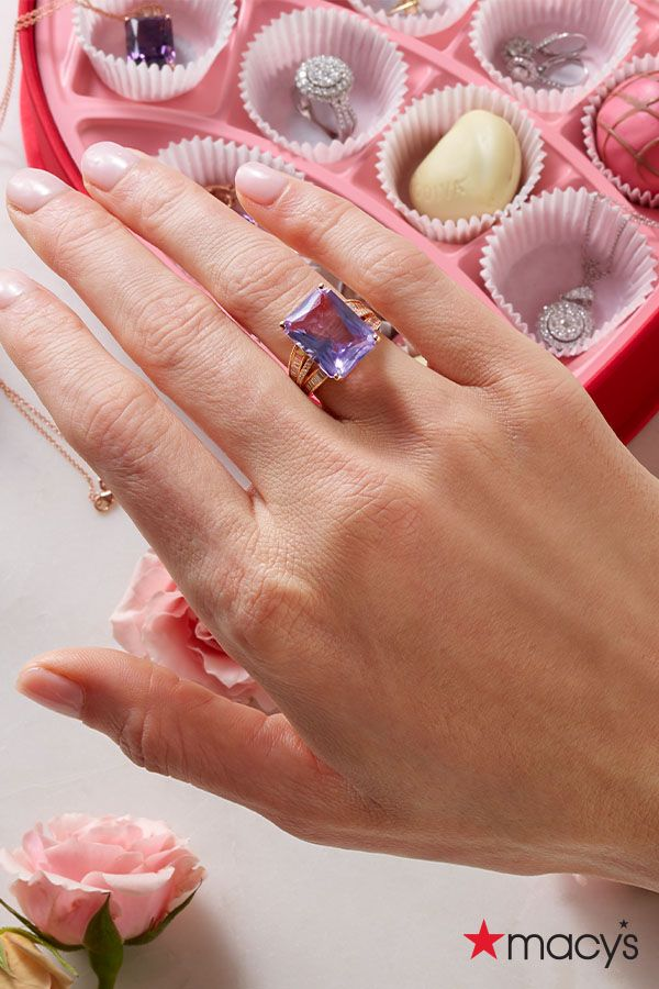 This Valentine's Day, show them how sweet it is to be loved by you. This amethyst, emerald-shaped ring by EFFY is a a gift that makes a statement. |Give the gifts you love to get. Shop this and other colorful gems for your loved ones and galentine's at macys.com