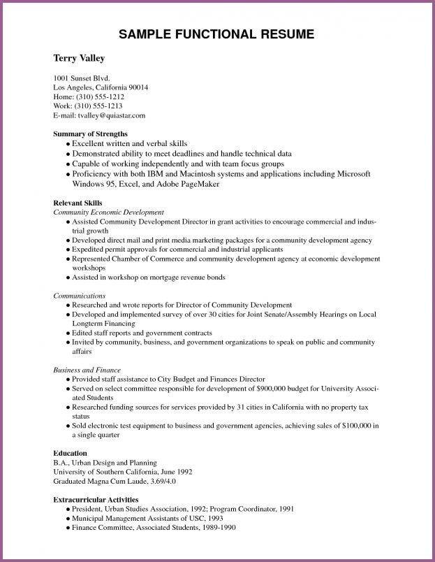 functional resume template pdf