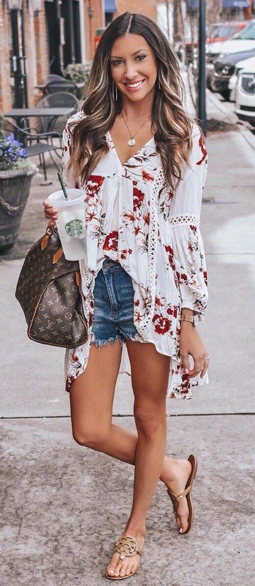 white and red floral long-sleeved shirt #summer #outfits