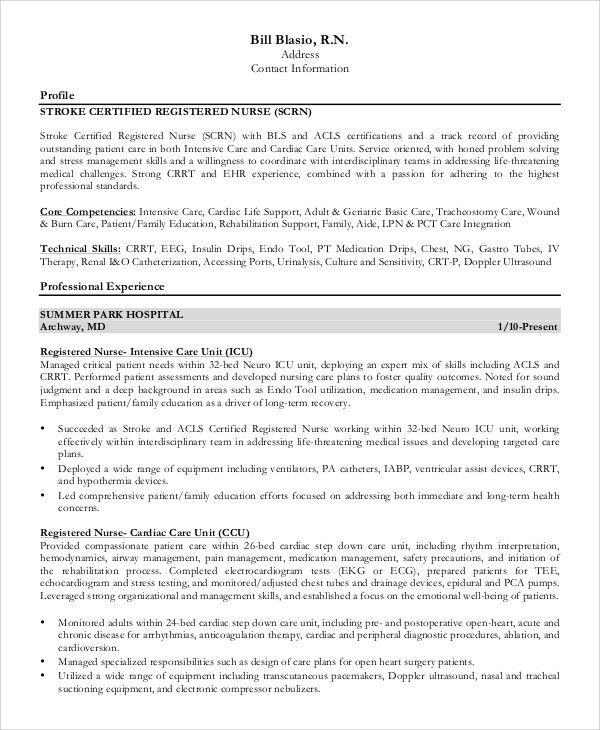 burn nurse sample resume node2001-cvresumepaasprovider