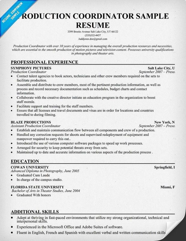 Exclusive Ideas Production Supervisor Resume 8 Resume Sample .  Tv Production Resume