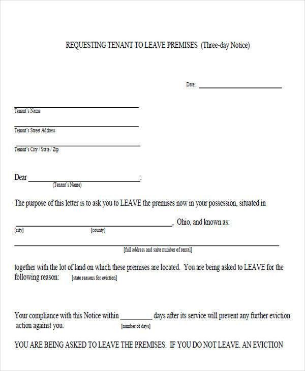 Vacate Notice Form Sample Eviction Notice Template 37 Free - notice form example