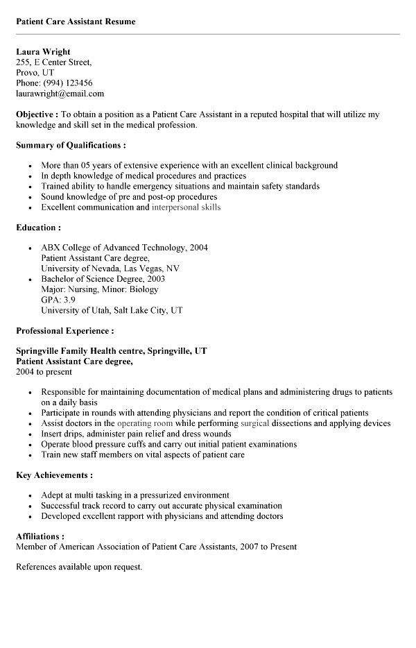 Patient Care Technician Resume With No Experience Shining On Patient Care Technician Resume