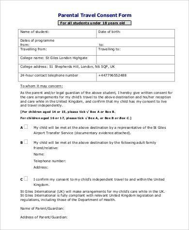 Parental Travel Consent Sample Child Travel Consent Form 5 - travel consent form sample