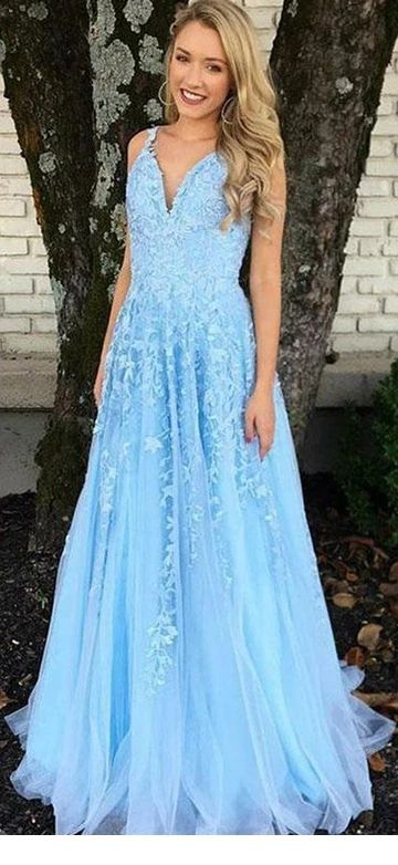 Amazing light blue long dress with blonde hair