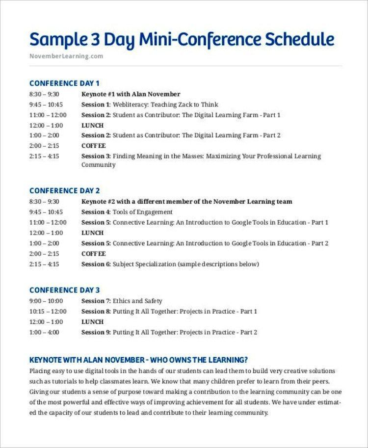 Seminar Schedule Template Conference Schedule Template 7 Free - sample conference schedule template