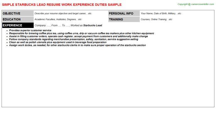 sample barista resume