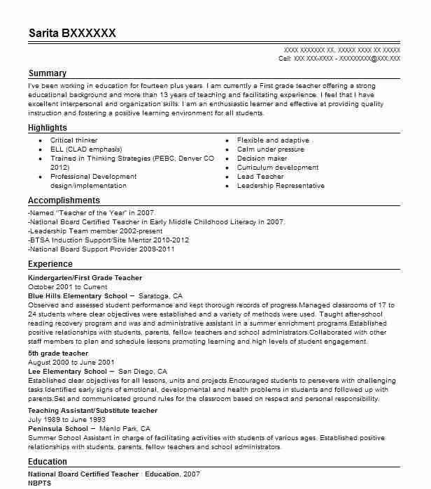 resume for substitute teachers