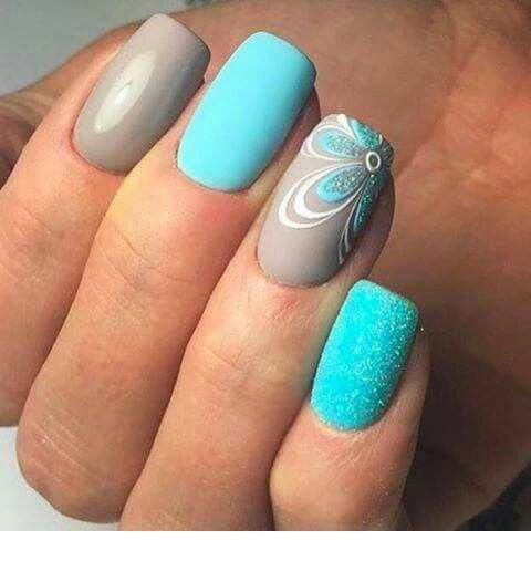 Nice grey and blue nails