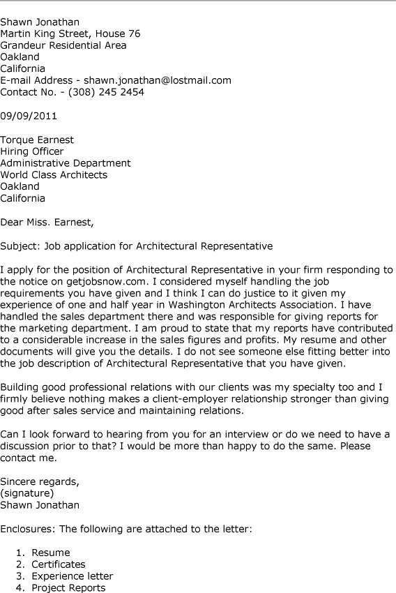 Sample Architect Cover Letter