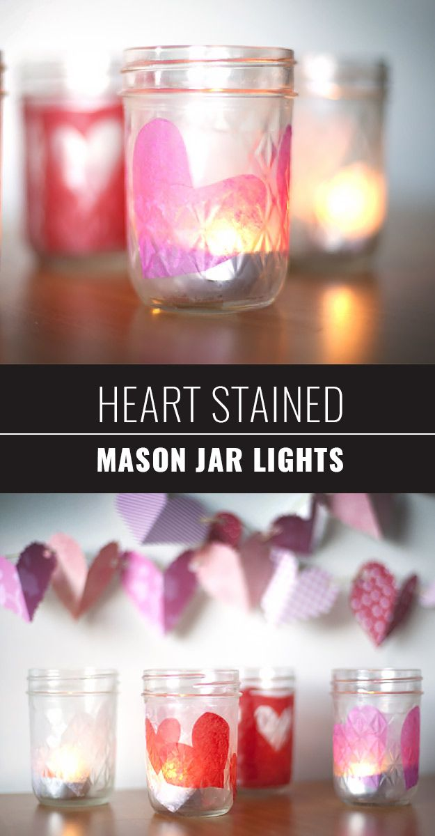 Mason Jar Valentine Gifts and Crafts | DIY Ideas for Valentines Day for Cute Gift Giving and Decor | Heart Stained Mason Jar Lights | #valentines