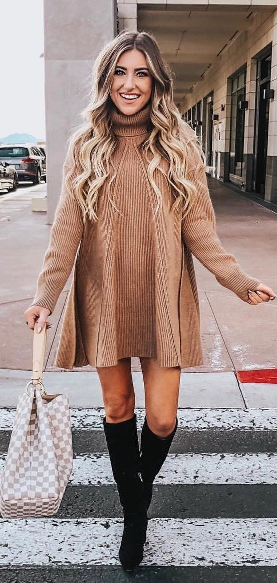 brown and white long sleeve dress #winter #outfits