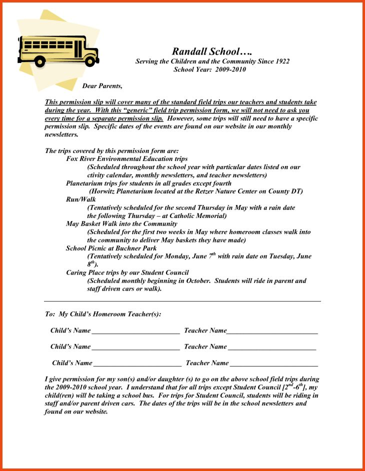 permission slip form for field trip
