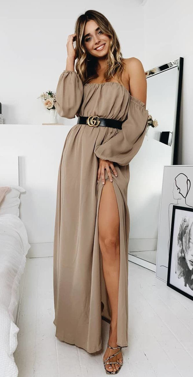 gray off-shoulder side-lit long-sleeved dress #spring #outfits