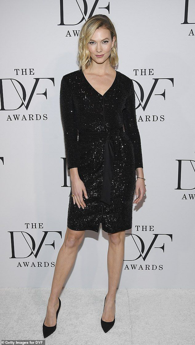 Gams on display: Kloss, 29, opted for a a more leggy piece in a black sequined mini-dress ...