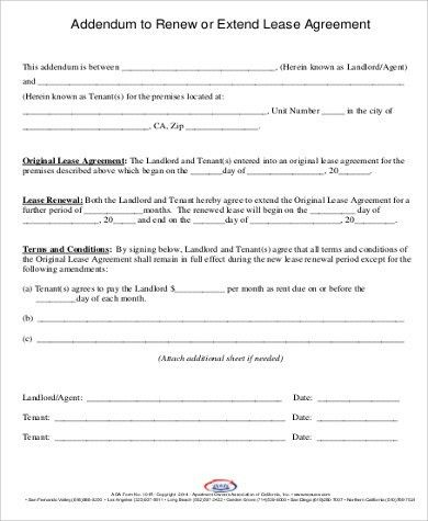 Rental Agreement Renewal Format Extension Of A Lease Template - lease renewal form