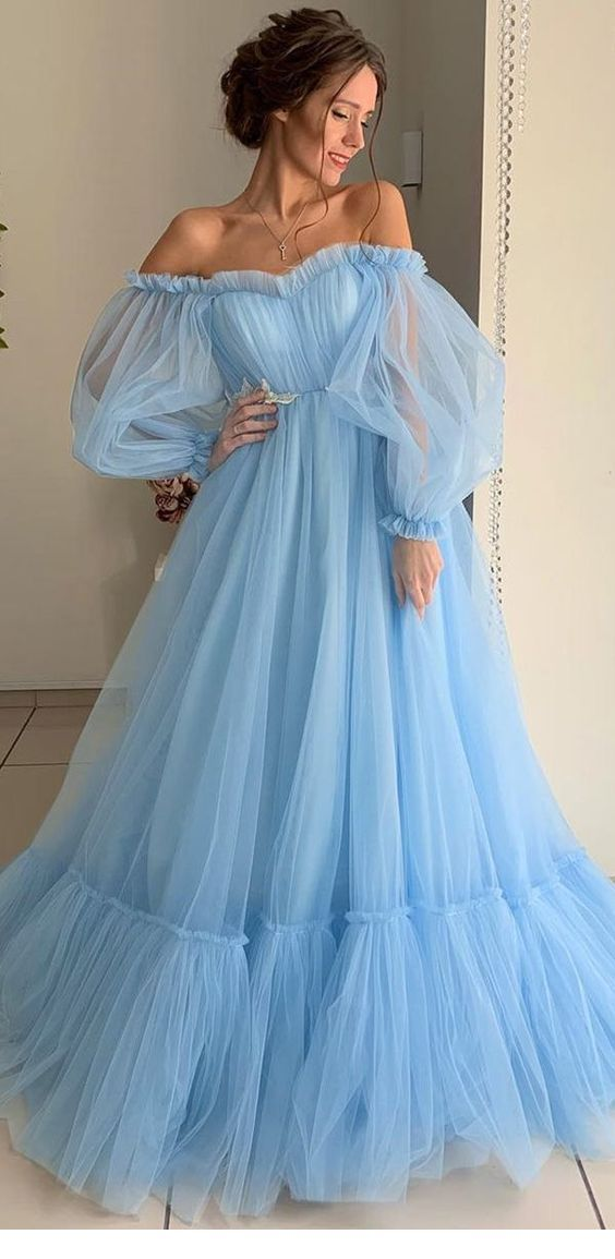 Dream long blue tulle dress