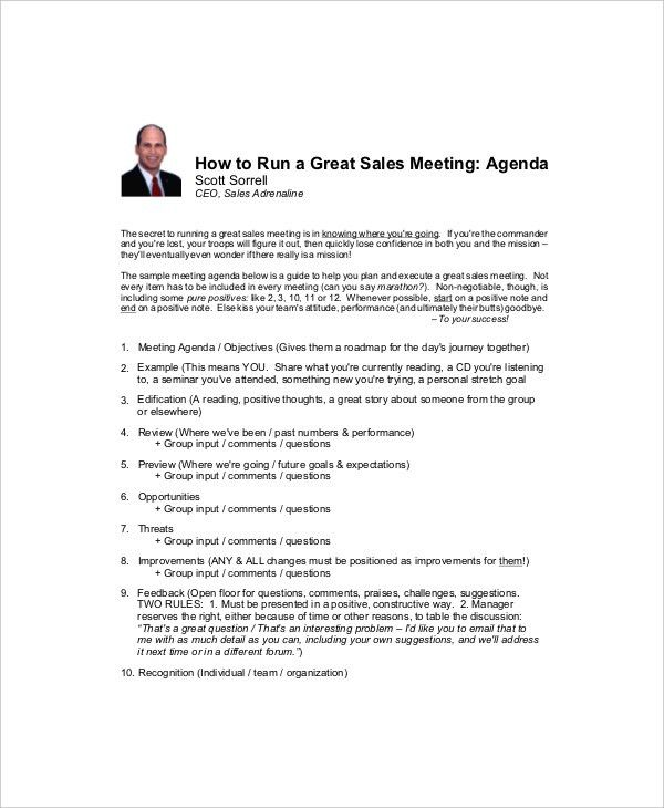 Sales Meeting Agenda Sample 12 Sales Meeting Agenda Templates - sample meeting agenda 2