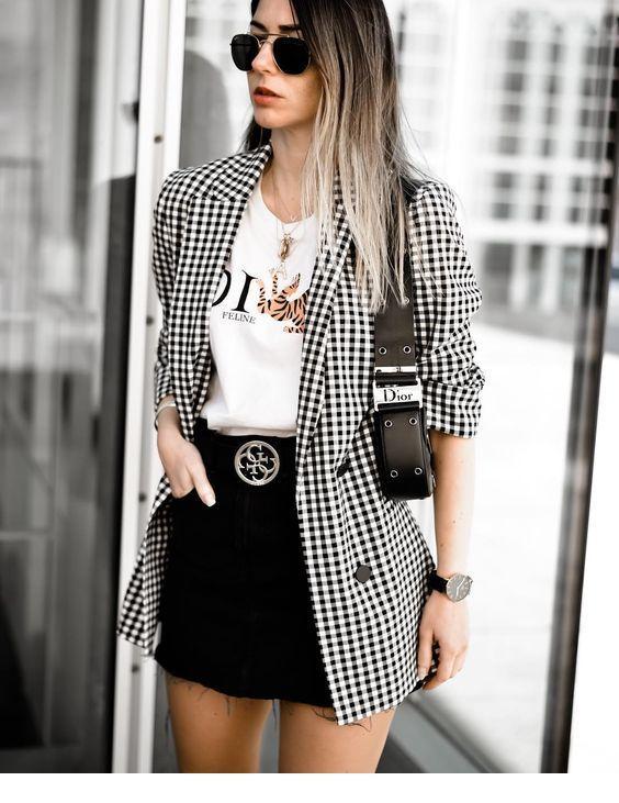 T-shirt, mini skirt and long blazer