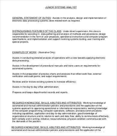 Data Analyst Job Description Sample Resume Data Analyst Job - system programmer job description