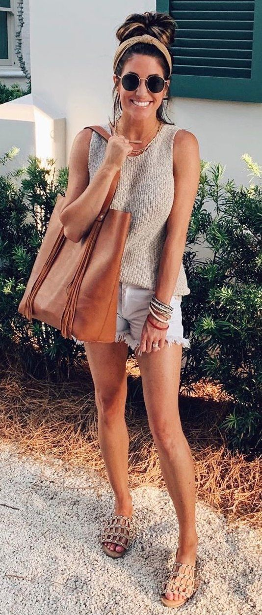 gray tank top #summer #outfits