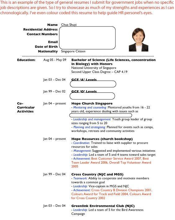 How To Write A Resume Singapore] Sample Resumes Job Hunters Guide .